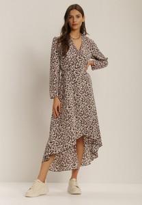 Fioletowa sukienka Renee z długim rękawem z dekoltem w kształcie litery v