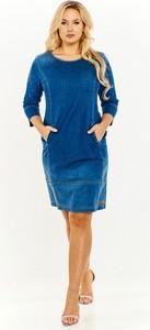 084d05756d Niebieska sukienka Just Jeans z długim rękawem z jeansu z okrągłym dekoltem