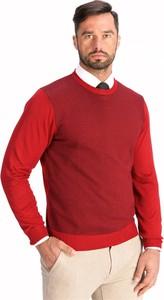 Czerwony sweter Lanieri z żakardu