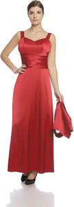 Czerwona sukienka Fokus maxi na ramiączkach z dekoltem w kształcie litery v