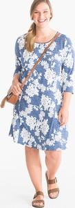 Niebieska sukienka YESSICA z długim rękawem z okrągłym dekoltem midi