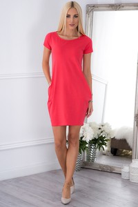 Czerwona sukienka Fasardi z krótkim rękawem tulipan mini