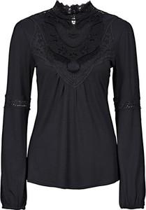 Czarna bluzka bonprix BODYFLIRT ze stójką z długim rękawem w stylu casual