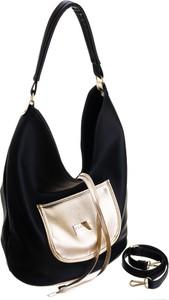Czarna torebka Badura w wakacyjnym stylu na ramię duża