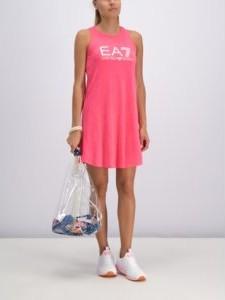 Różowa sukienka EA7 Emporio Armani z okrągłym dekoltem w stylu casual bez rękawów