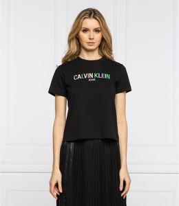Czarny t-shirt Calvin Klein z okrągłym dekoltem z bawełny w młodzieżowym stylu