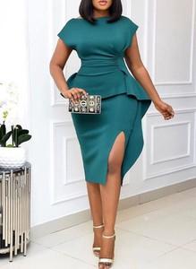 Sukienka Sandbella midi z krótkim rękawem