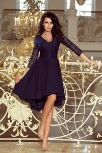 Granatowa sukienka NUMOCO z długim rękawem asymetryczna midi