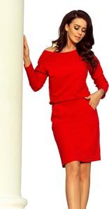 Czerwona sukienka NUMOCO z długim rękawem midi z bawełny