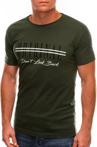 Zielony t-shirt Edoti z nadrukiem