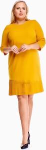 Żółta sukienka N/A z okrągłym dekoltem mini