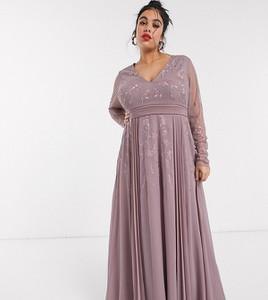 Fioletowa sukienka Asos z dekoltem w kształcie litery v