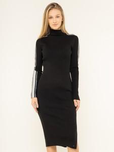 Czarna sukienka Tommy Hilfiger ołówkowa midi z golfem