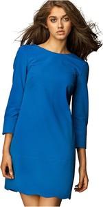Niebieska sukienka Nife z okrągłym dekoltem mini