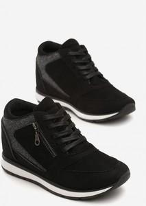 Czarne buty sportowe Esclusivo ze skóry ekologicznej sznurowane