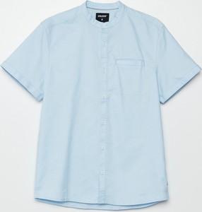 Niebieska koszula Cropp z krótkim rękawem z klasycznym kołnierzykiem w stylu casual