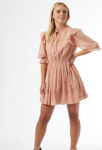 Różowa sukienka Miss Selfridge Petite z dekoltem w kształcie litery v z długim rękawem