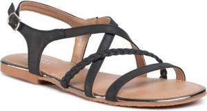 Czarne sandały Jenny Fairy w stylu casual z płaską podeszwą