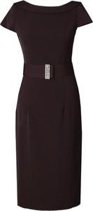 Czarna sukienka Fokus z krótkim rękawem midi