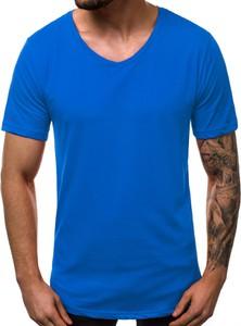 Niebieski t-shirt Ozonee w stylu casual z bawełny z krótkim rękawem
