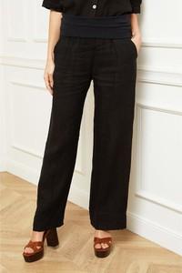 Czarne spodnie Fleur De Lin z lnu