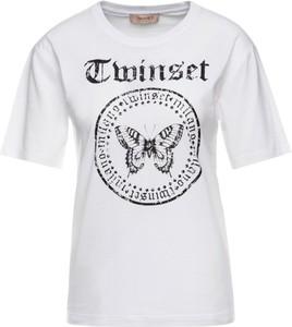 T-shirt Twinset z krótkim rękawem z okrągłym dekoltem w młodzieżowym stylu