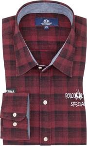 Czerwona koszula La Martina z długim rękawem z bawełny