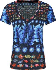 T-shirt Desigual z dekoltem w kształcie litery v