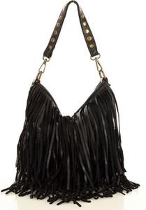 Czarna torebka GENUINE LEATHER na ramię w wakacyjnym stylu