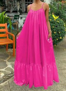 Różowa sukienka Cikelly na ramiączkach oversize maxi