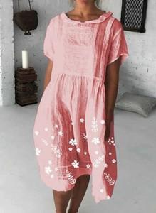 Różowa sukienka Cikelly z krótkim rękawem mini