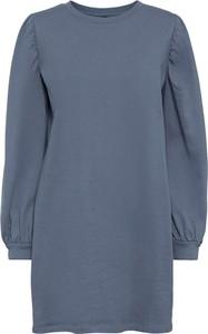 Niebieska sukienka bonprix z dresówki z długim rękawem w stylu casual