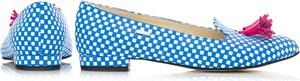 Niebieskie baleriny Zapato z płaską podeszwą ze skóry