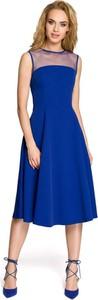 Niebieska sukienka MOE bez rękawów z okrągłym dekoltem trapezowa