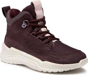 Czerwone buty sportowe dziecięce eobuwie.pl z goretexu sznurowane