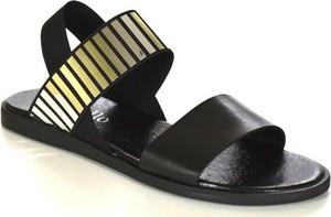 Czarne sandały chebello w stylu casual z płaską podeszwą