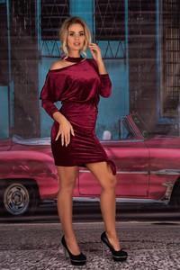 Czerwona sukienka MERRIBEL z weluru