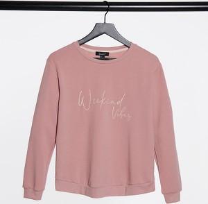 """New Look Maternity – Różowa bluza dresowa z napisem """"Weekend"""" – część zestawu-Różowy"""