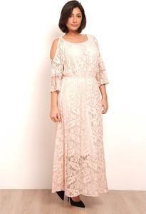 Sukienka Plus Size Fashion z długim rękawem maxi