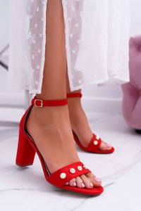 Czerwone sandały S.Barski z klamrami ze skóry