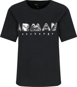 Bluzka Armani Exchange z krótkim rękawem w młodzieżowym stylu z okrągłym dekoltem
