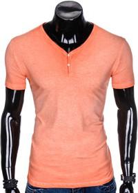 Pomarańczowy t-shirt Ombre Clothing z bawełny z krótkim rękawem