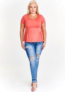 Różowa bluzka Fokus z krótkim rękawem w stylu casual