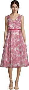 Różowa sukienka Vera Mont rozkloszowana bez rękawów
