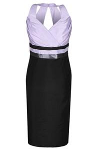Czarna sukienka Fokus ołówkowa z dekoltem w kształcie litery v midi