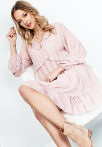 Różowa sukienka ZOiO.pl w stylu casual z długim rękawem oversize