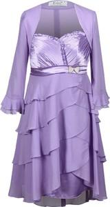 Fioletowa sukienka Fokus z dekoltem w karo
