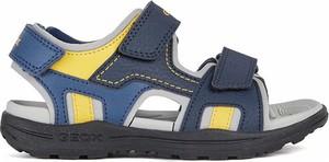 Granatowe buty dziecięce letnie Geox na rzepy ze skóry dla chłopców