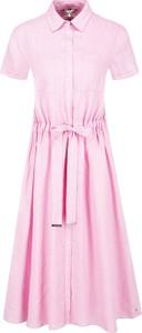 Sukienka Tommy Hilfiger z krótkim rękawem z lnu