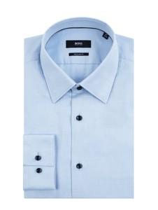 Niebieska koszula Boss z bawełny z długim rękawem